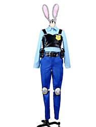Inspiré par Zootopia Judy Anime Costumes de cosplay Costumes Cosplay Mosaïque Bleu / Bleu EncreTop / Chemisier / Pantalons Hakama /