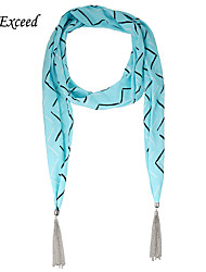 D Exceed Designer Scarf Fashion Waves Print Chiffon Warm Necklace Scarf For Women's Winter Tassel Jewelry Scarves