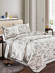 100% algodão moda 3 peças acolchoado set colcha, queen size