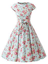 Trapèze Robe Femme Vintage,Points Polka Bateau Mi-long Manches Courtes Vert Coton Toutes les Saisons Taille Normale