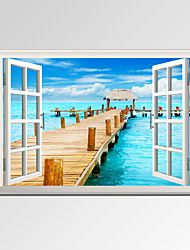 VISUAL STAR®Modern Window View Blue Seascape Canvas Wall Art Ready to Hang