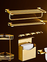 Bath Accessory Set,Contemporary 6 piece Gold-Plated Brass Material hardware set