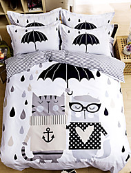 Cotton Bedclothes Queen Size Print Bedding Set