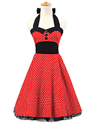 50s Era Vintage Style Halterneck Buttons Rockabilly Dress Cosplay Costume Red White Mini Polka Dot (with Petticoat)