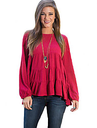 Women's Solid Red Blouse,Round Neck Long Sleeve