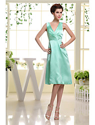 Knee-length Satin Bridesmaid Dress-Jade A-line V-neck