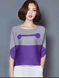 Women's Casual/Daily Street chic Spring Blouse,Color Block Round Neck ¾ Sleeve Pink / Orange / Purple Polyester Thin