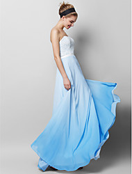 TS Couture Prom Formal Evening Dress - Color Gradient Sheath / Column Strapless Floor-length Chiffon Lace with Lace