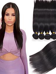 4pcs cabelo humano peruano cabelo liso tece cor natural do cabelo virgem 8-26 polegadas
