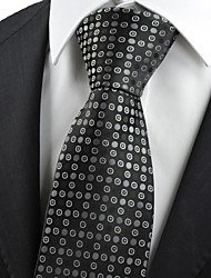 Black Grey Polka Dot Circle Pattern Men's Tie Necktie Formal Wedding Gift KT0031
