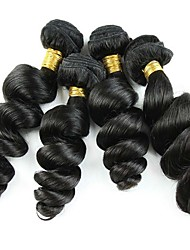 400g/Lot 8-26inch Peruvian Virgin Hair Loose Wave Black Color Raw Human Hair Weaves Wholesales.