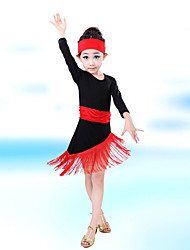 Latin Dance Children's Performance Cotton / Spandex Tassel(s) Dresses With Hair Band