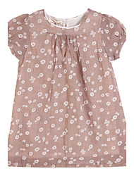 Girl's Brown Dress Cotton Summer