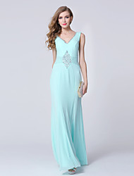 Formal Evening Dress Sheath/Column V-neck Ankle-length Tulle