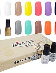 kismart suga bort ledde uv spik gel polish present kit 6,5 ml 60 färgar väljer 6 färg gel en bas&1 Top Coat 8 st i ett set