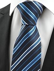 New White Striped Navy Blue Men's Tie Formal Necktie Wedding Holiday Gift #0007
