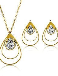 Jewelry Set Stainless Steel Zircon Titanium Steel Fashion Oval Golden Necklace/Earrings Wedding Party Daily Casual 1set Necklaces Earrings