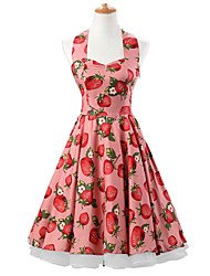 50s Era Vintage Style Halterneck Rockabilly Dress Audrey Hepburn Cosplay Costume Strawberries Print (with Petticoat)