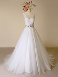Hochzeitskleid-Elfenbein Satin / Tüll-A-Linie-Hof-Schleier-V-Ausschnitt