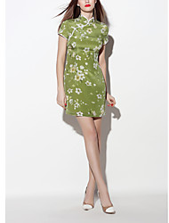 Women's Going out Vintage Sheath Dress,Print Stand Above Knee Short Sleeve Green Silk Spring