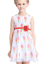 Girl's Red / Yellow Dress Cotton / Polyester Summer