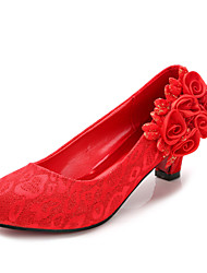 Women's Wedding Shoes Heels / Round Toe / Closed Toe Heels Wedding / Dress Red