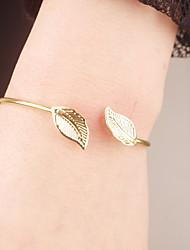 Feminino Bracelete Liga Estilo simples Formato de Folha Dourado Jóias 1peça