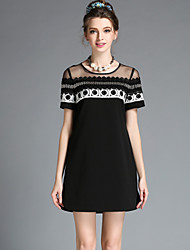 Fashion Women Sexy See Through Vintage Elegant Bead Embroidery Hollow Lace Plus Size Short Sleeve Dress
