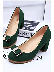 Women's Shoes Leatherette Spring / Fall Heels Outdoor / Casual Chunky Heel Bowknot Black / Green / Beige