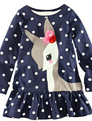 Girl's Blue Dress Cotton Winter