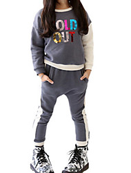 Girl's Gray Clothing Set Cotton Winter / Fall