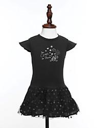 Girl's Print Dress,Cotton Summer Black