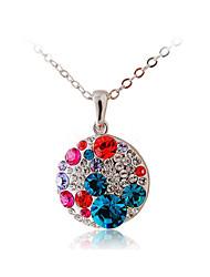 HKTC Valentine's Glittering Colourful Crystal Round Pendant Necklace Platinum Plated Fashion CZ Diamond Jewelry