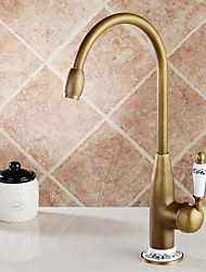 Antique Brass Copper Rotatable Spout Blue And white Ceramic Single Handle Single Hole Cold And Hot Water Kitchen Faucet