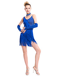 Latin Dance Dresses Women's Performance Milk Fiber Tassel(s) 1 Piece Sleeveless Natural Dress