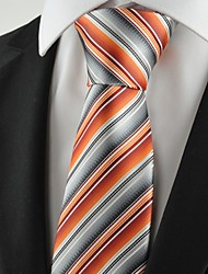 Cravate(Gris / Orange,Polyester)Rayé