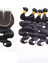 Trama do cabelo com Encerramento Cabelo Brasileiro Onda de Corpo 6 meses 5 Peças tece cabelo