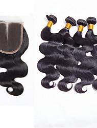 Brazilian Virgin Hair With Closure Brazilian Body Wave Lace Closure With Hair Bundles Brazilian Virgin Hair