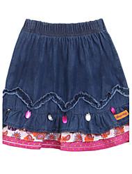 Falda Chica de-Primavera-Algodón-Azul