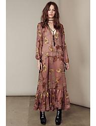 Mulheres Vestido Swing Sexy / Boho Floral Maxi Decote em V Profundo Rayon