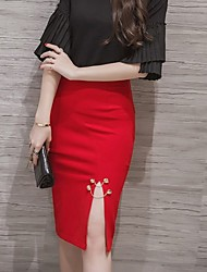 Women's Sexy Bodycon Solid Knee-length Skirts
