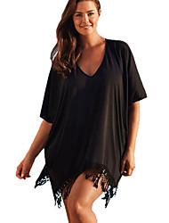 Women's Beach Sexy / Boho Summer Blouse,Jacquard V Neck Short Sleeve Red / Black Rayon / Polyester Thin