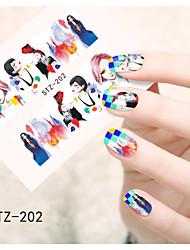1pcs  Water Transfer Nail Art Stickers Girl's Image Flower Cartoon  Iron Tower Nail Art Design STZ201-210