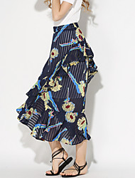 Women's Floral Blue Skirts,Holiday / Beach Asymmetrical Ruffle Fashion Slim Fishtail skirt Nylon/De chine