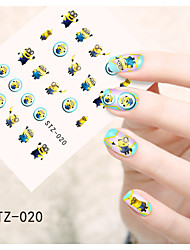 1pcs  Water Transfer Nail Art Stickers Flower Cat Mouse Small Yellow Minions Nail Art Design STZ16-20