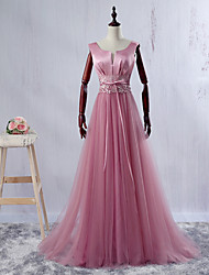 Formal Evening Dress Ball Gown V-neck Floor-length Satin / Tulle with Lace / Sash / Ribbon