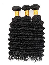 """billig brasilianska jungfru hår vinkar djupt människohår 3 buntar 8'-30 """"inches naturligt svart hårförlängningar"""