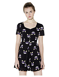 Women's Cute Print A Line Dress,U Neck Mini Polyester