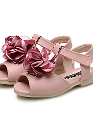 Girl's Sandals Summer Comfort Flower Girl Shoes Leatherette Wedding Outdoor Dress Casual Party & Evening Flat Heel Flower Hook & LoopPink