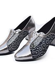 Women's Latin Ballroom Dance Shoes Jazz / Modern / Swing Shoes / Salsa / Samba Chunky Heel Black / Silver / Gray